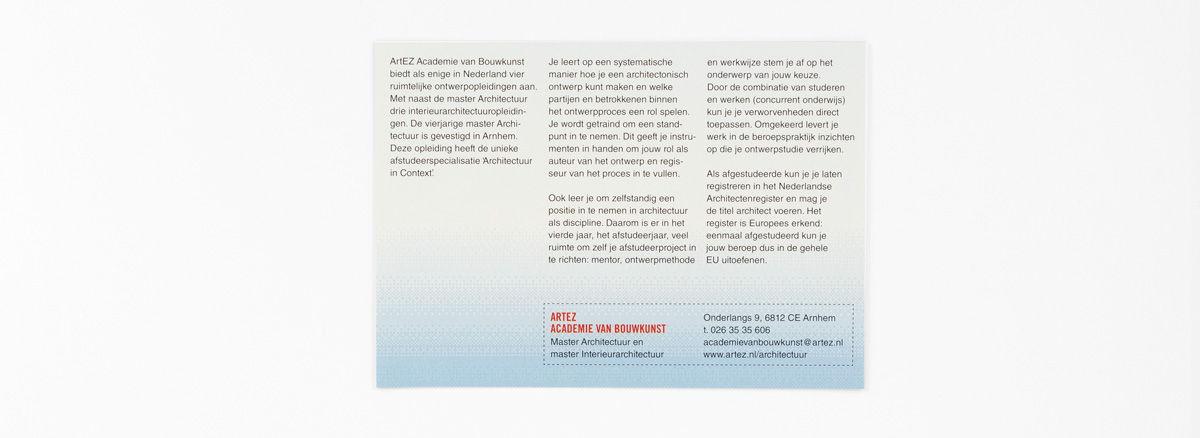 ArtEZ Bouwkunst, folder curriculum, achterkant