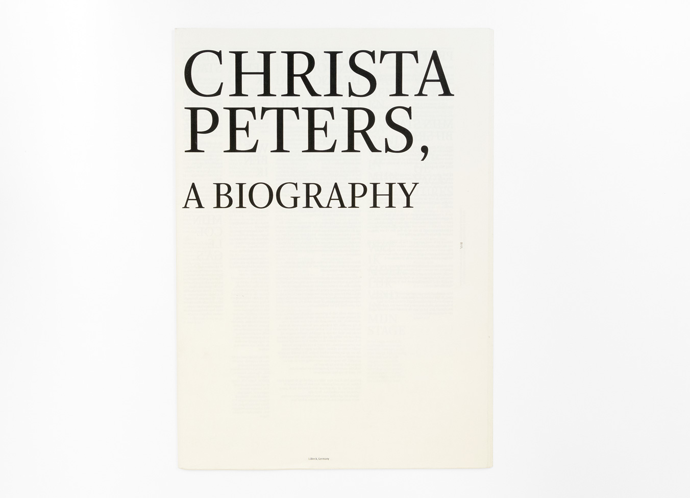 Christa Peters, omslag