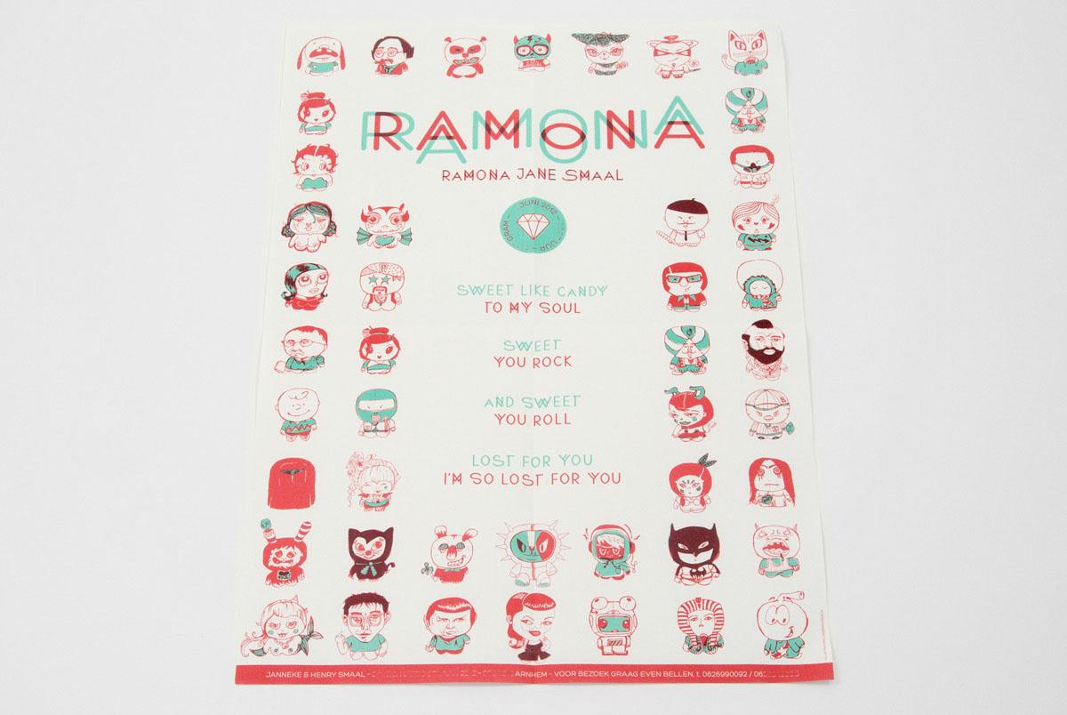 Geboortekaartje Ramona, illustraties: kissenwesen.de