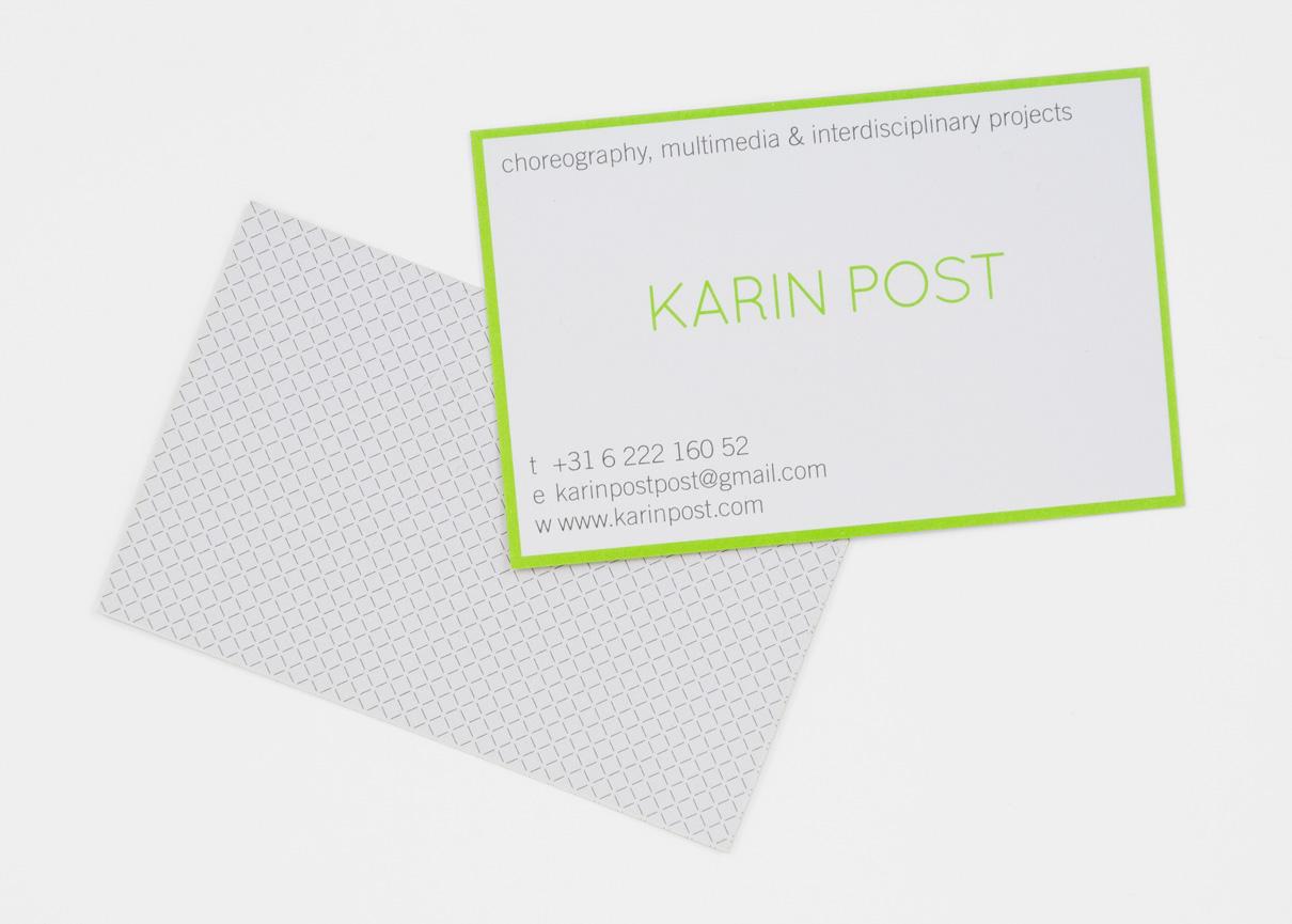 Karin Post visitekaartje (voor en achter)