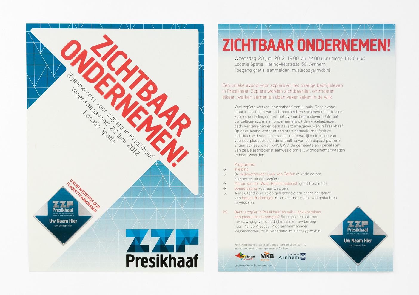 ZZP Presikhaaf, promotionele flyer